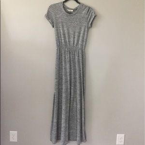 Fringe Grey Maxi Dress with Cut Out Back and Slits